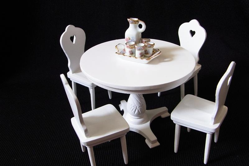 White Round Table With Chairs Miniature Doll House
