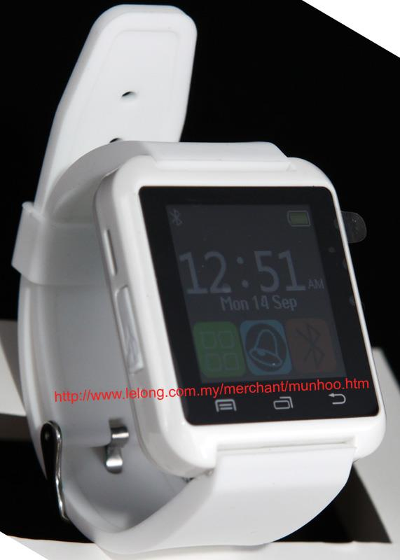 White UWatch Bluetooth Smart Watch LCD to Remote Android Phone