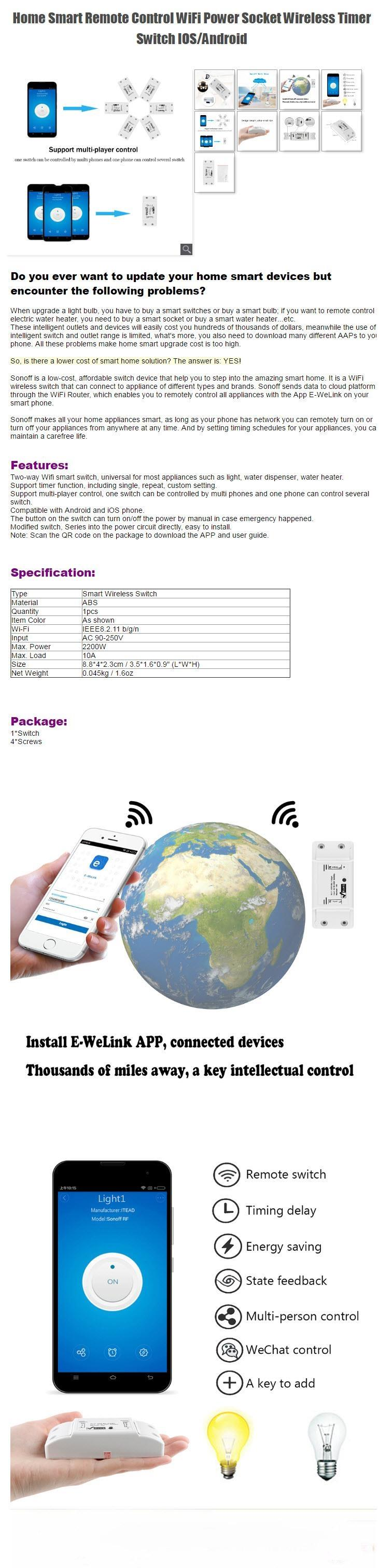 Wifi Smart On Off Switch & Timer Control By Phone App