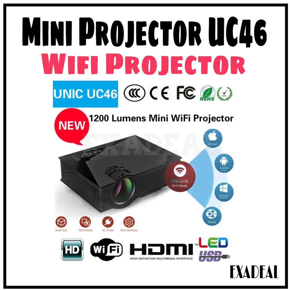 WIFI UC46 Mini Projector 1200 Lumen Free HDMI Cable Home Projector