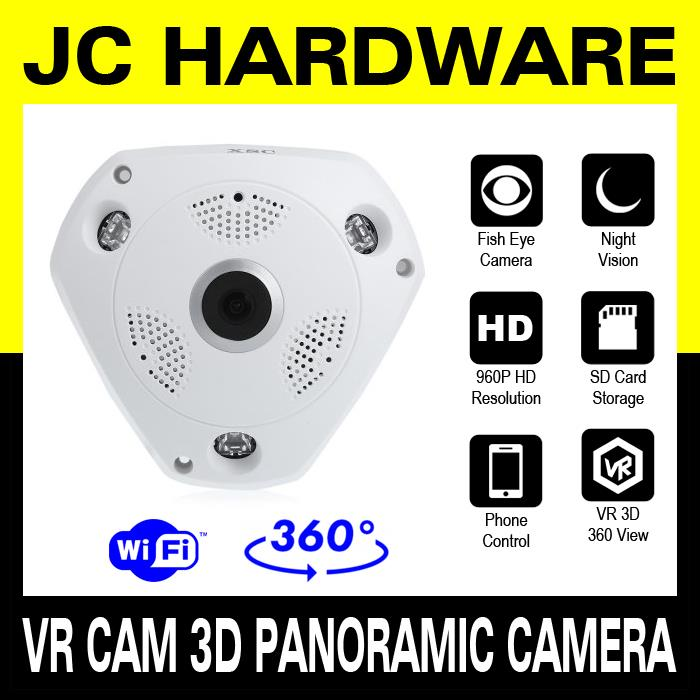 Wifi VR Cam 3D Panoramic Camera CCTV IP Camera p2p Fisheye 360 view