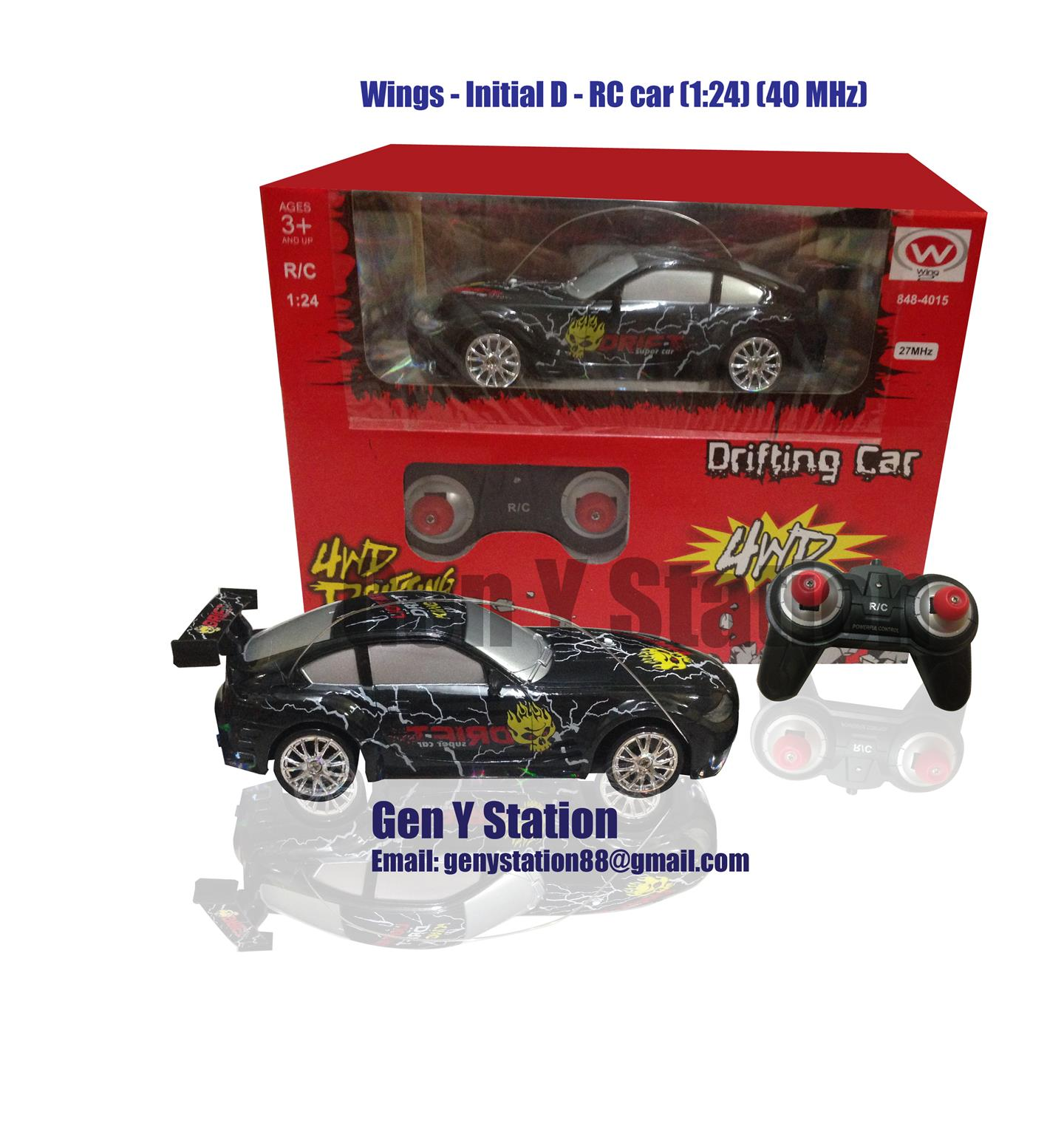 Wings R/C Remote Control Drifting 4WD Race Car 1/24 free 4 tyres