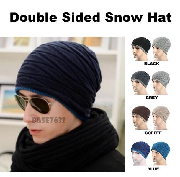 63c3dd7da7f73 Winter Warm Wool Knitted Creased Double Sided Beanie Snow Cap Hat. ‹ ›