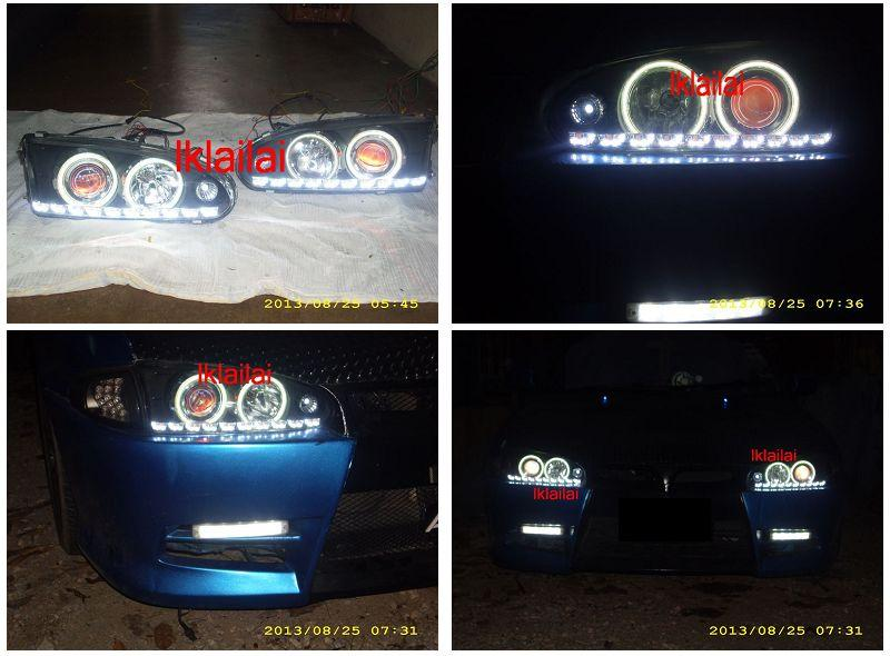 WIRA/SATRIA Projector Head Lamp DRL R8 + Colour CCFL Ring+Angel Eye