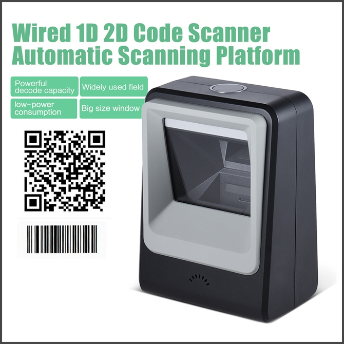 Wired Automatic Desktop 1D Barcode 2D QR Code Image Scanner Reader