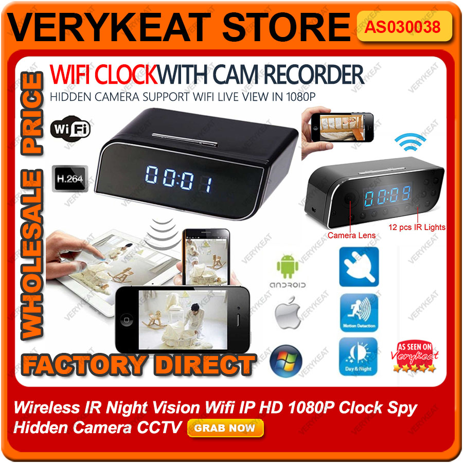 Wireless IR Night Vision Wifi IP HD 1080P Clock Spy Hidden Camera CCTV