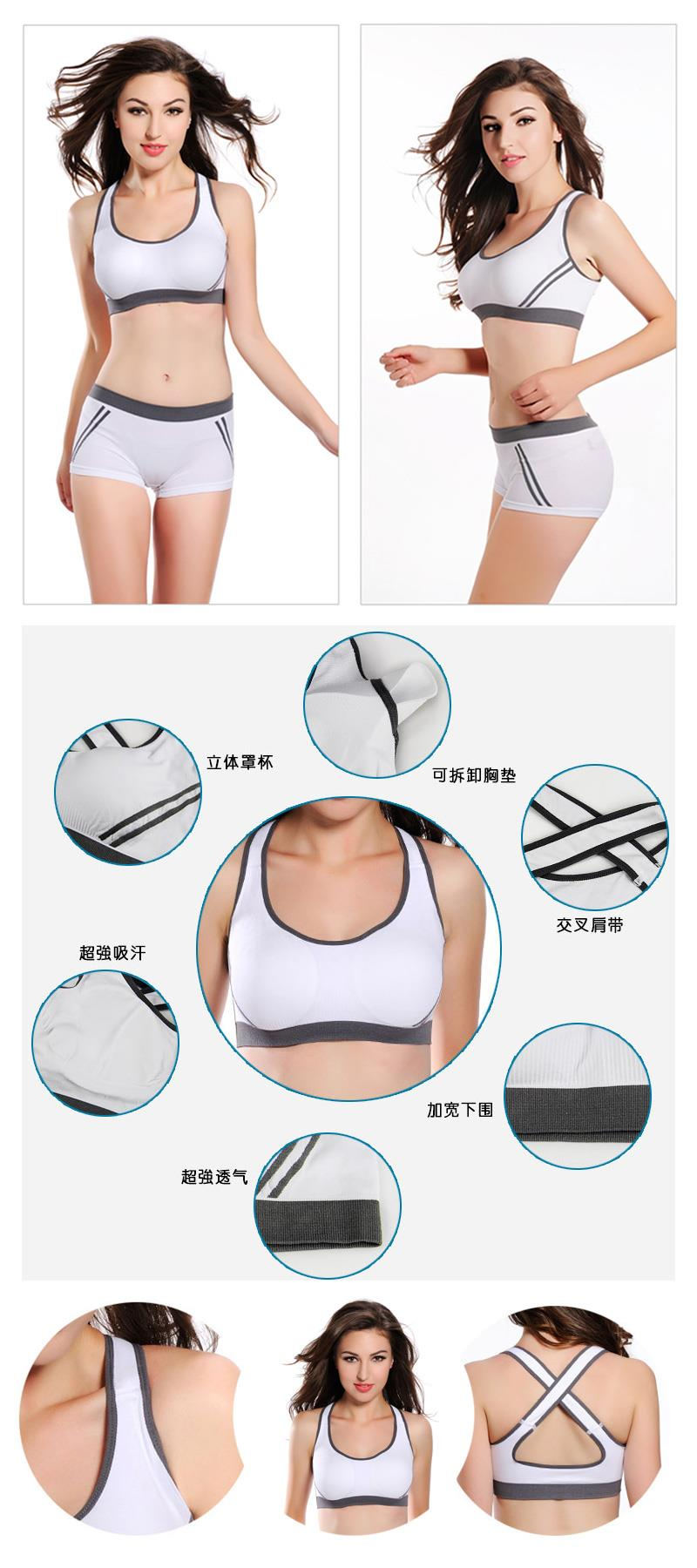 Wireless Jogging Gym Cardio Yoga Seamless Sports Bra + Brief Set