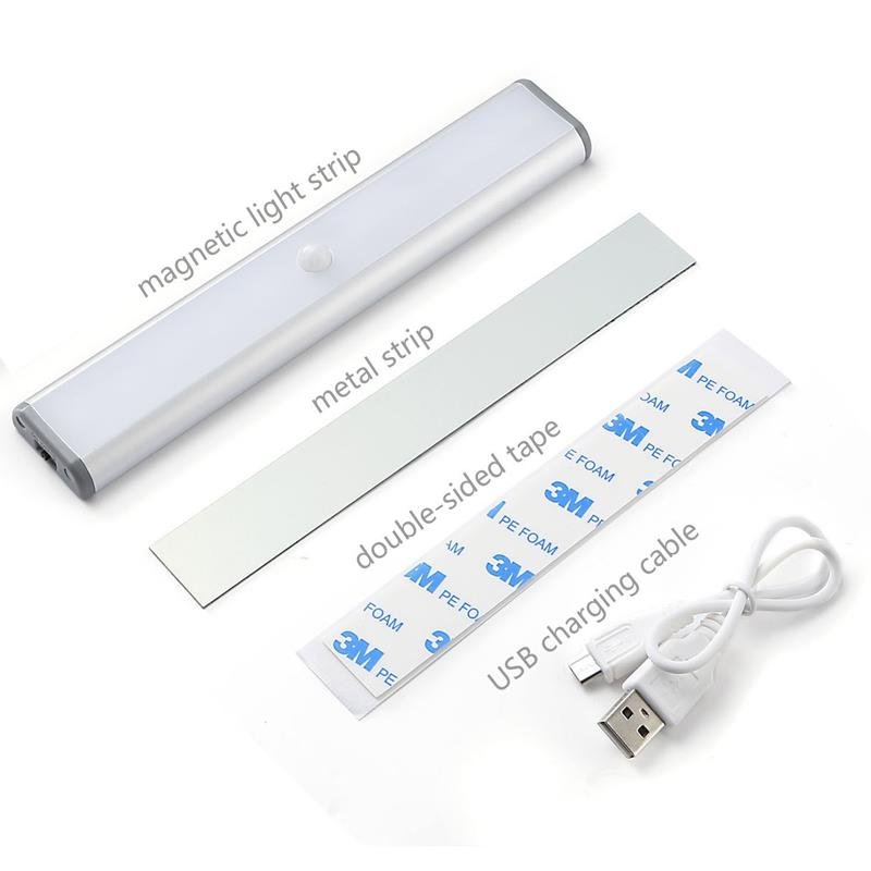 Wireless Motion Sensor Cabinet Lights 10LED USB Rechargeable LED Light