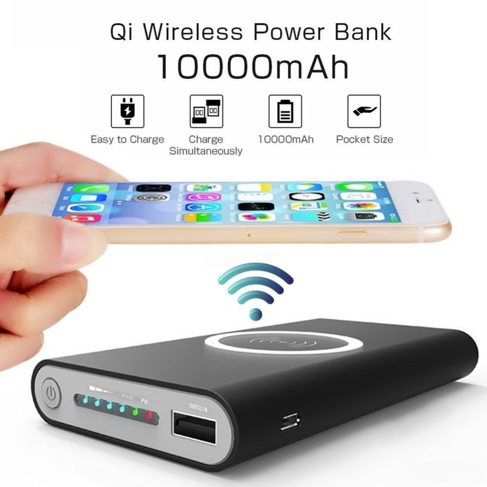 Wireless Qi Charger 10000mAh Power Bank for Android Apple Devices