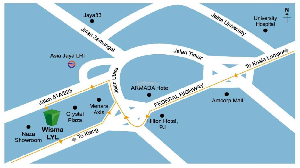 Map Of Asia Jaya Lrt Station.Wisma Lyl Office Section 51a Petaling Jaya Asia Jaya Lrt Station