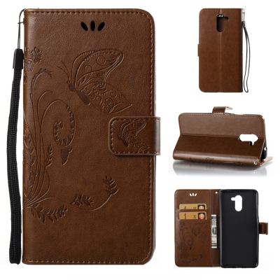 Wkae Flowers Embossing Pattern Pu Leather Flip Stand Case Cover for Huawei Y7