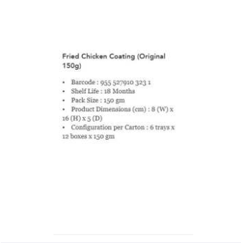 WM Bestari Original Crispy Fried Chicken Coating Mix 150g