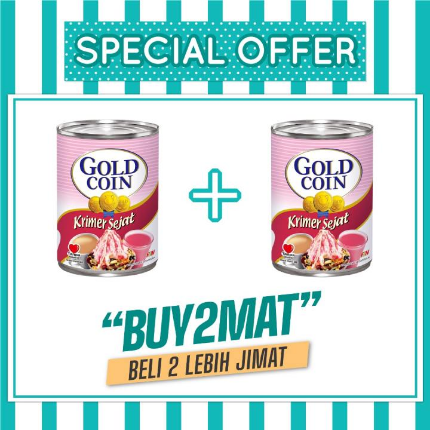 WM2 Gold Coin Evaporated Creamer 390g ( X2 ITEM )