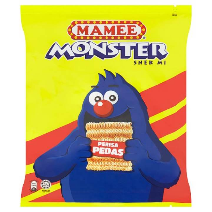 WM2 Mamee Monster Spicy Snack Noodles 8 x 25g ( X2 ITEM )