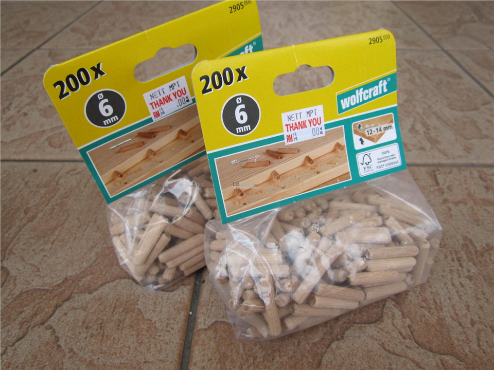 Wolfcraft 200x ø6mm x 30mm Wooden Dowel Pins (2905 000)