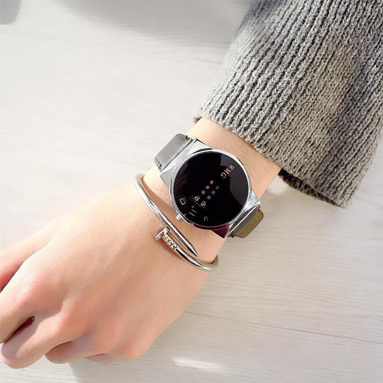 Womage Futuristic Black Leather Strap Fashion Unisex Digital Watch