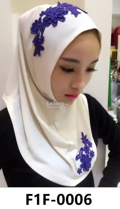 Woman Clothing Shirt Baju Perempuan Hijabs White (Blue Flower)
