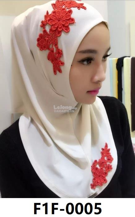 Woman Clothing Shirt Baju Perempuan Hijabs White (Red Flower)
