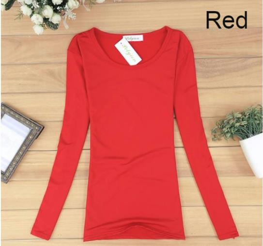 Woman Long Sleeve Female Girl Ladies Lady T-Shirt clothing dress red