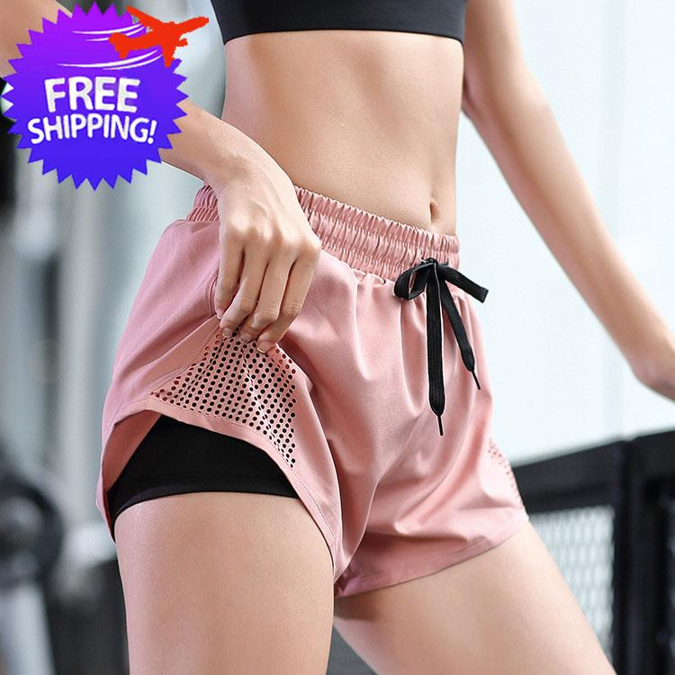 Women 2 Layers Short Sport Pants For Yoga Jogging Gym Running