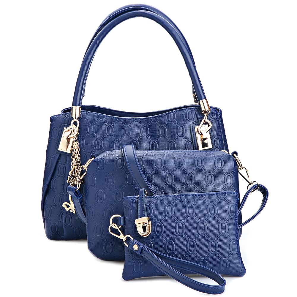 Women 3pcs Tote Bag Pu Leather Handbag Purse Bags Set Blue