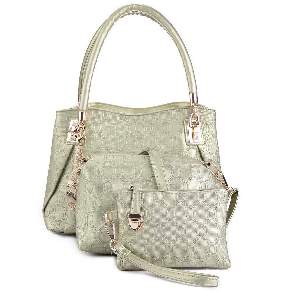 5671d14a0b46 WOMEN 3PCS TOTE BAG PU LEATHER HANDBAG PURSE BAGS SET (GOLDEN)
