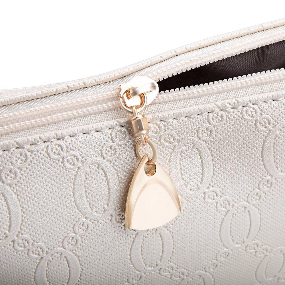 d2cee59f002 WOMEN 3PCS TOTE BAG PU LEATHER HANDBAG PURSE BAGS SET (WHITE)