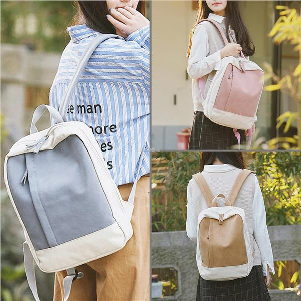 Women Backpacks Girls Patchwork Color Canvas Shoulder Bag Schoolbags. ‹ › a9272a71ad