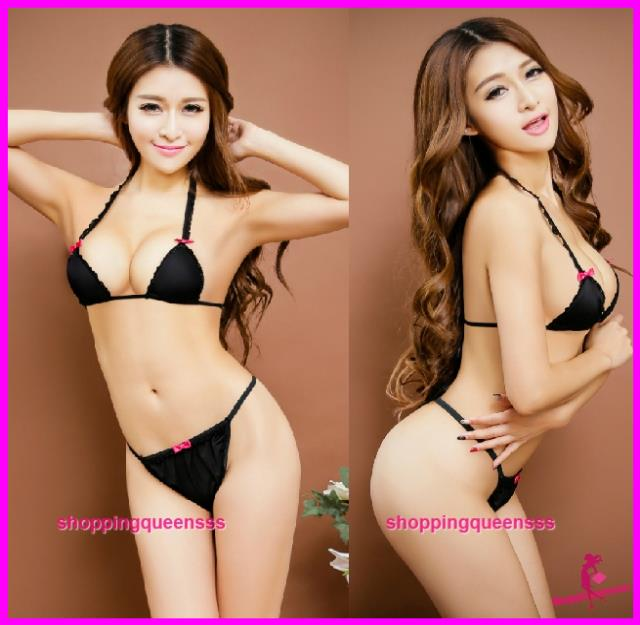 6eab62bebe Women Black Bikini Set Bra G-String Sexy Lingerie Sleepwear Nightwear. ‹ ›