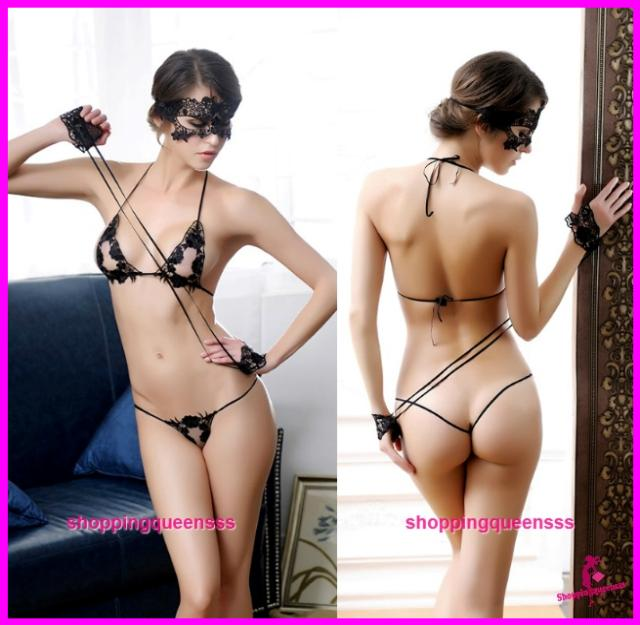 Women Black Bikini Set Mask Handcuff Sleepwear Sexy Lingerie Pyjamas -