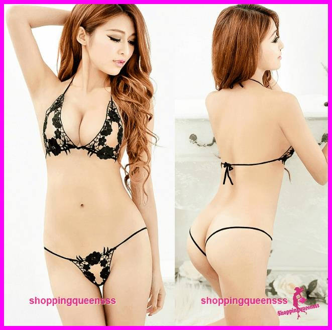Women Black Bikini Set Sleepwear Sexy Lingerie Sleepwear Nightwear -