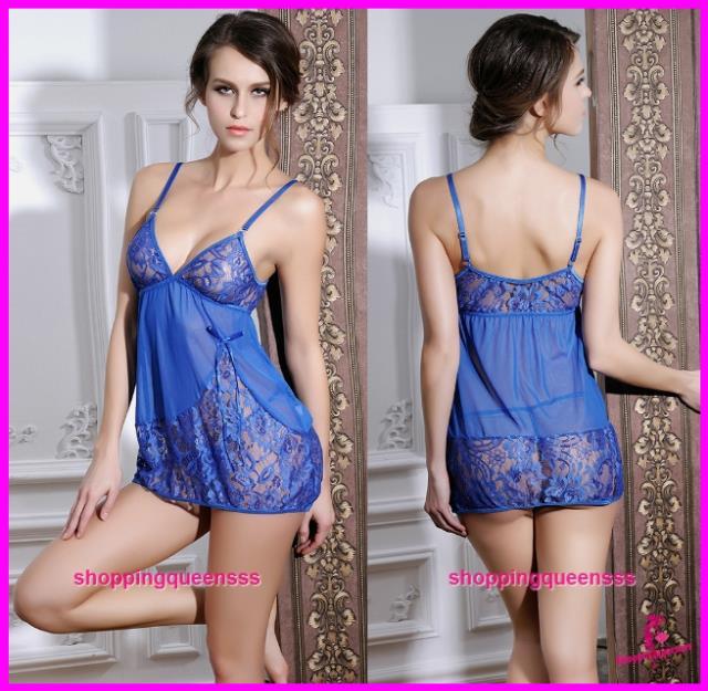 09c9cebd1a Women Blue Lace Sling Low-Cut Babydoll Dress Sexy Lingerie Sleepwear. ‹ ›