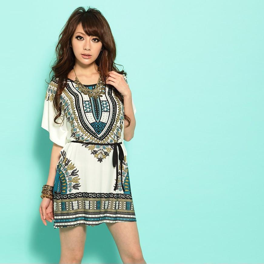 4729ca2494df New Women Boho Dress Vintage Print Batwing Sleeve Casual Loose Dress S. ‹ ›