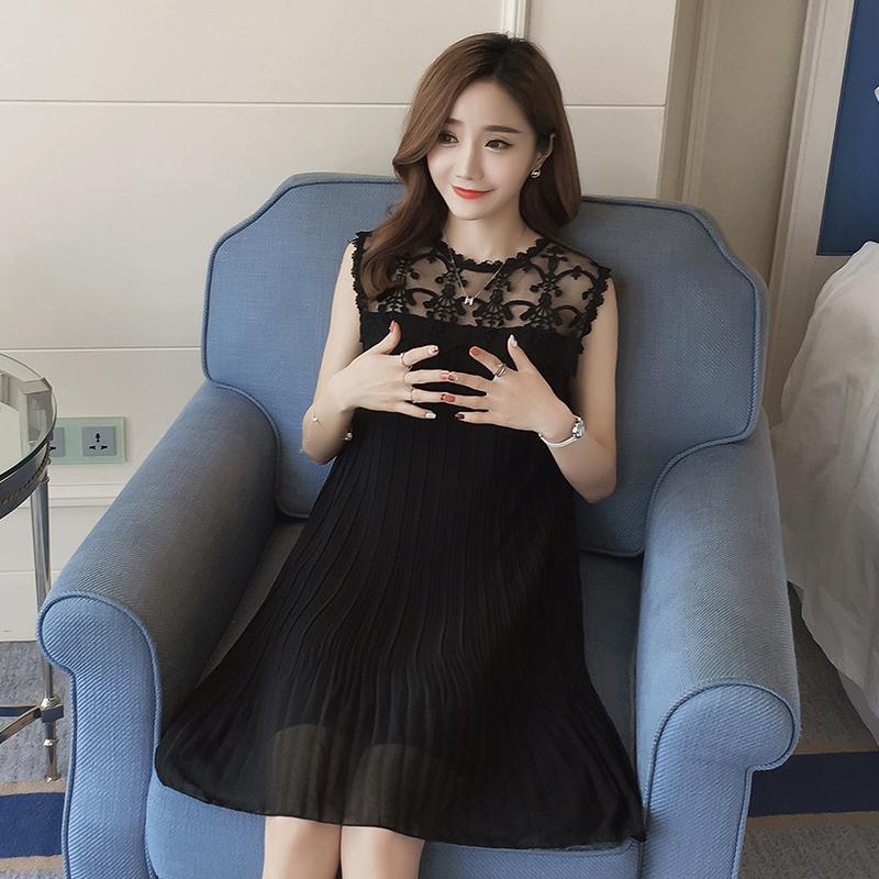 1181d4f64ab Women Chiffon Lace A Shape Sleeveless Elegant Maternity Dress