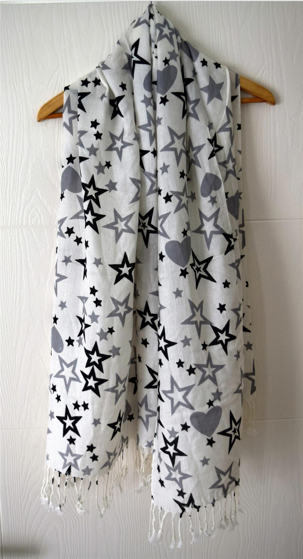 Women Fashion Soft Long Star Heart Printed Scarf Shawl