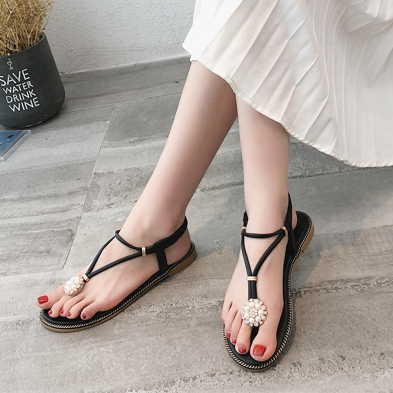 e201b62dd4c2 Women Fashion Thong Sandals Flat Heel Elastic Strap Beach Trend Plus S. ‹ ›