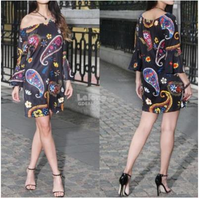 New Women Floral Printing Long Sleeve Off Shoulder Causal Dress