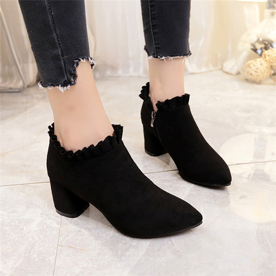 superior performance select for original differently Women High Heel Shoes Thick Heel Pointed Lace Shoes Side Zipper