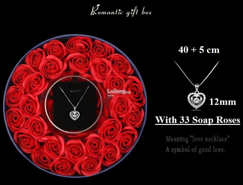 Women I-Love-You Floating Diamond Pendant Necklace