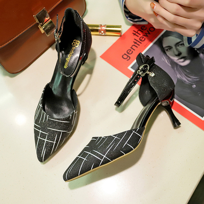 Women Korean Fashion Sexy High Heels Wild Sequin Buckle Shoes