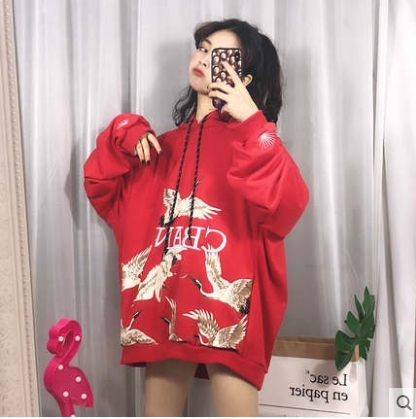 e97c0abf37f3 Women Korean Fashion Trend Thick Velvet Loose Hooded Baby Sweater