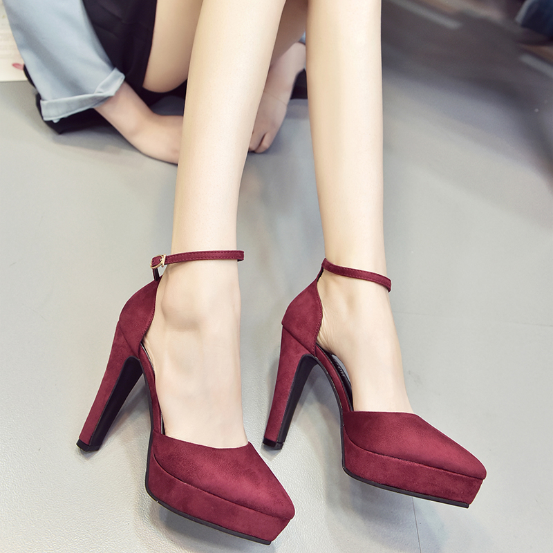 Women Korean Trend Fashion Shallow Mouth Pointed Super High Heel Shoe