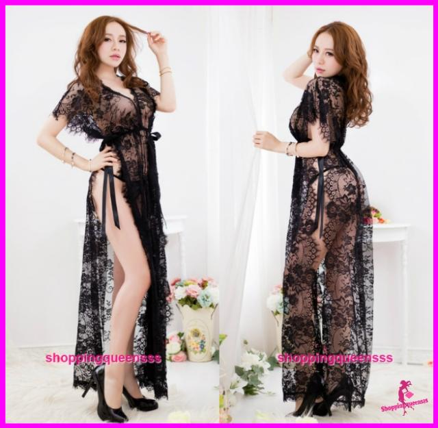 Women Lace Long Sides Tie Dress Nightwear Sexy Lingerie Sleepwear -