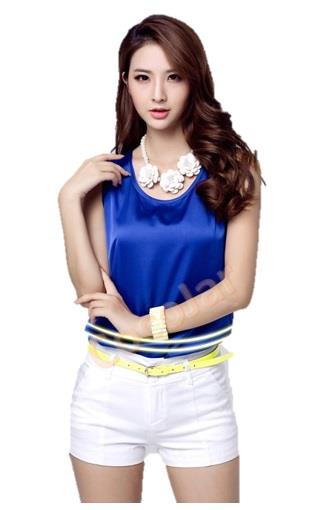 Women Lady No Sleeve Silk Like Fabric Elegant Shirt Top