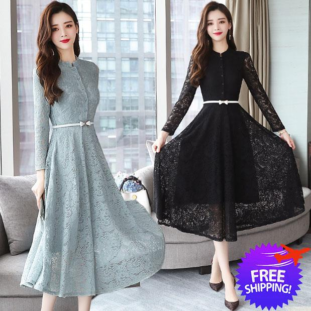 Women Long Sleeve Gorgeous Formal Dinner Lace Dress