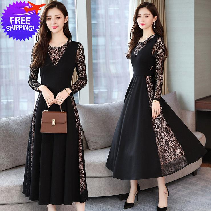 Women Long Sleeve Slim Fit Formal Dinner Lace Dress
