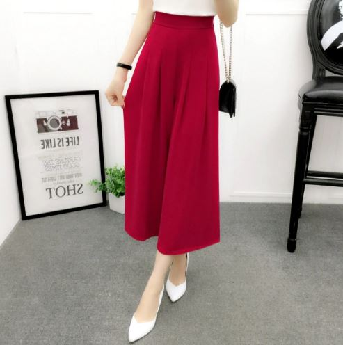 9c6c0c750c9 Women Loose Chiffon Wide Leg Pants Elastic High Waist Casual Pant