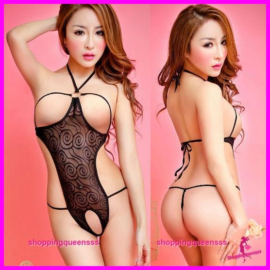 e83ef32753d Women Open Breast Teddies Sleepwear Sexy Lingerie Nightwear (2 Colors)