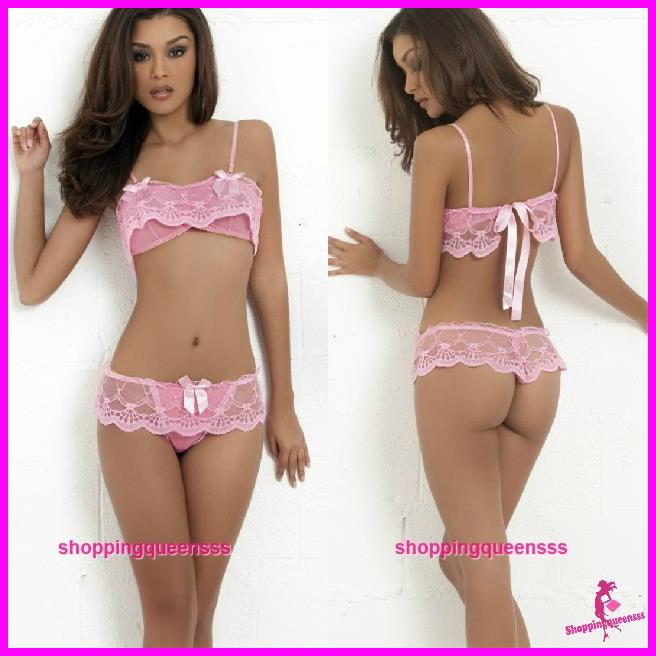 74421b5caa482 Women Pink Lace Bikini Bra Thong Ba (end 6 16 2018 11 39 PM)