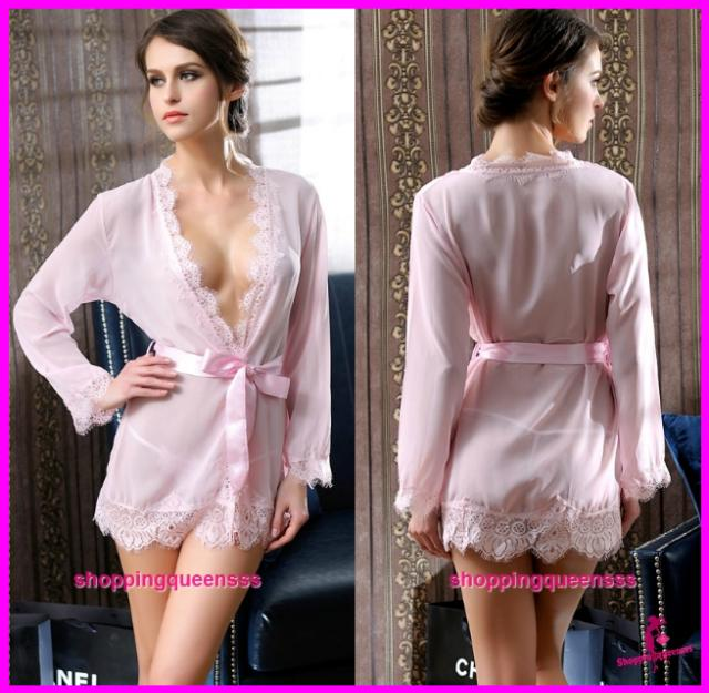 Women Pink See-Through Robes Nightwear Sleepwear Sexy Lingerie -
